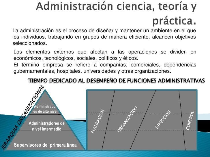 La administración es el proceso de diseñar y mantener un ambiente en el que los individuos, trabajando en grupos de manera...