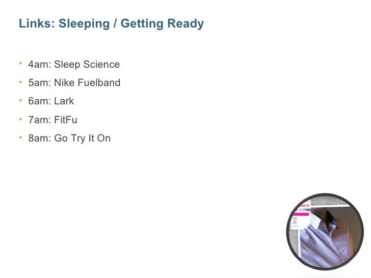 Links: Sleeping / Getting Ready• 4am: Sleep Science• 5am: Nike Fuelband• 6am: Lark• 7am: FitFu• 8am: Go Try It On         ...