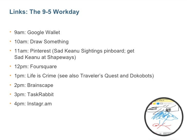 Links: The 9-5 Workday• 9am: Google Wallet• 10am: Draw Something• 11am: Pinterest (Sad Keanu Sightings pinboard; get  Sad ...