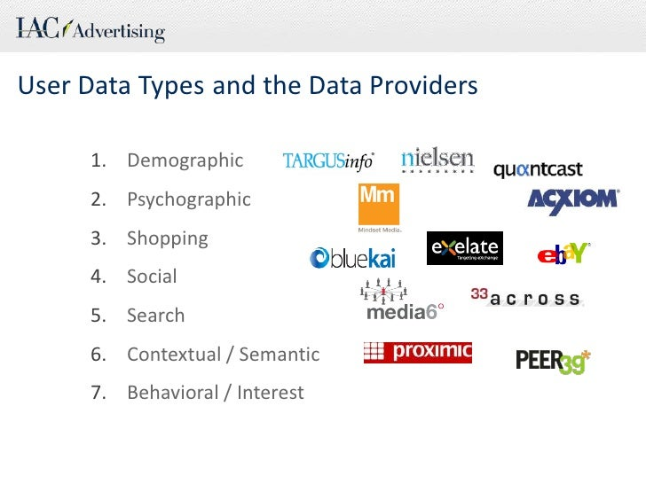 User Data Types<br />and the Data Providers<br />Demographic<br />Psychographic<br />Shopping<br />Social<br />Search<br /...