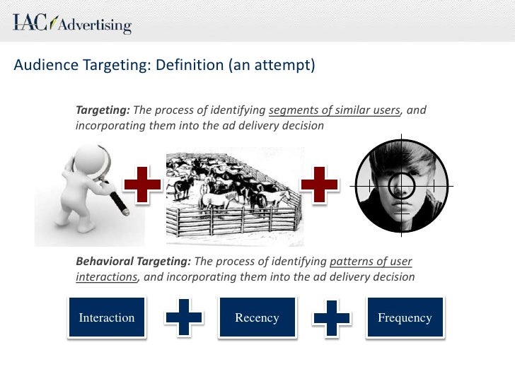 Audience Targeting:Definition (an attempt)<br />Targeting: The process of identifying segments of similar users, and incor...