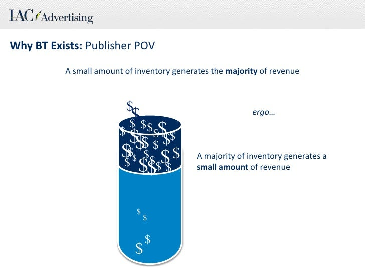 Why BT Exists: Publisher POV<br />A small amount of inventory generates the majority of revenue<br />$<br />$<br />ergo…<b...