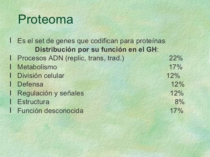 Proteoma <ul><li>Es el set de genes que codifican para proteínas </li></ul><ul><li>Distribución por su función en el GH : ...