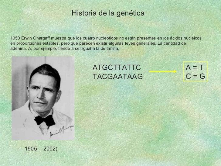 Historia de la genética 1950 Erwin Chargaff muestra que los cuatro nucleótidos no están presentes en los ácidos nucleicos ...