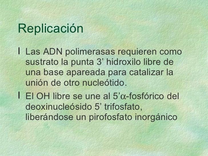 Replicación <ul><li>Las ADN polimerasas requieren como sustrato la punta 3' hidroxilo libre de una base apareada para cata...