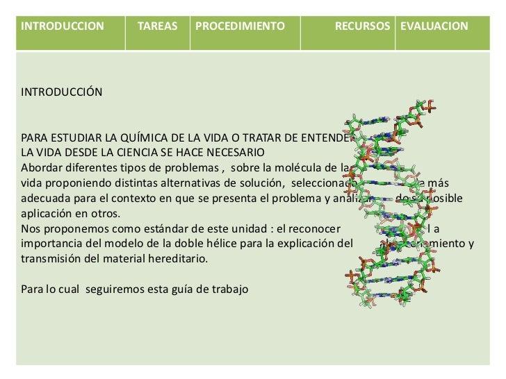 INTRODUCCION          TAREAS     PROCEDIMIENTO            RECURSOS EVALUACIONINTRODUCCIÓNPARA ESTUDIAR LA QUÍMICA DE LA VI...