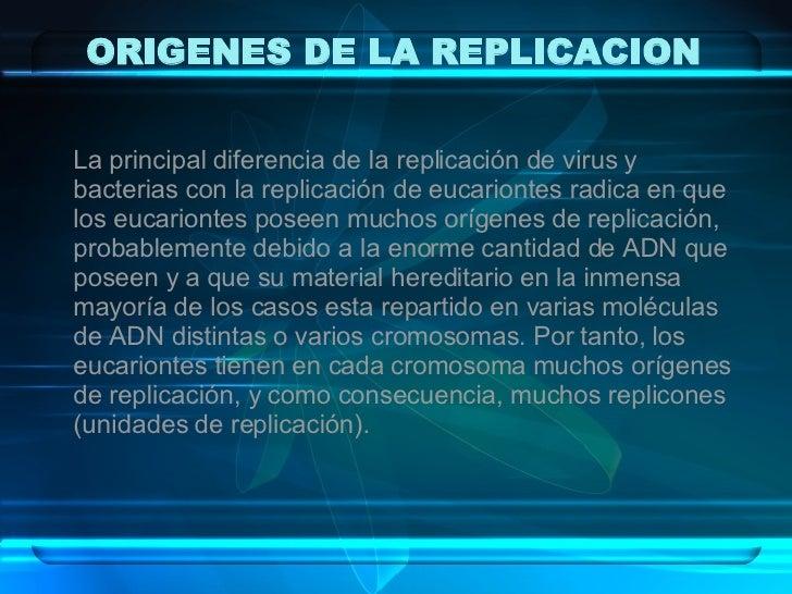 ORIGENES DE LA REPLICACION La principal diferencia de la replicación de virus y bacterias con la replicación de eucarionte...