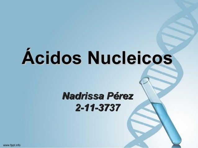 Ácidos NucleicosÁcidos Nucleicos Nadrissa PérezNadrissa Pérez 2-11-37372-11-3737