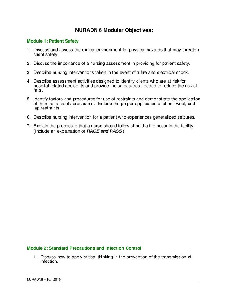 NURADN 6 Modular Objectives:Module 1: Patient Safety1. Discuss and assess the clinical environment for physical hazards th...