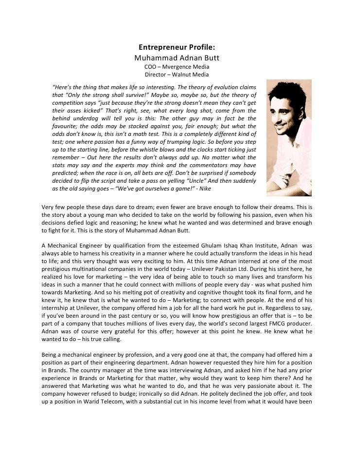 Entrepreneur Profile:                                     Muhammad Adnan Butt                                         COO ...
