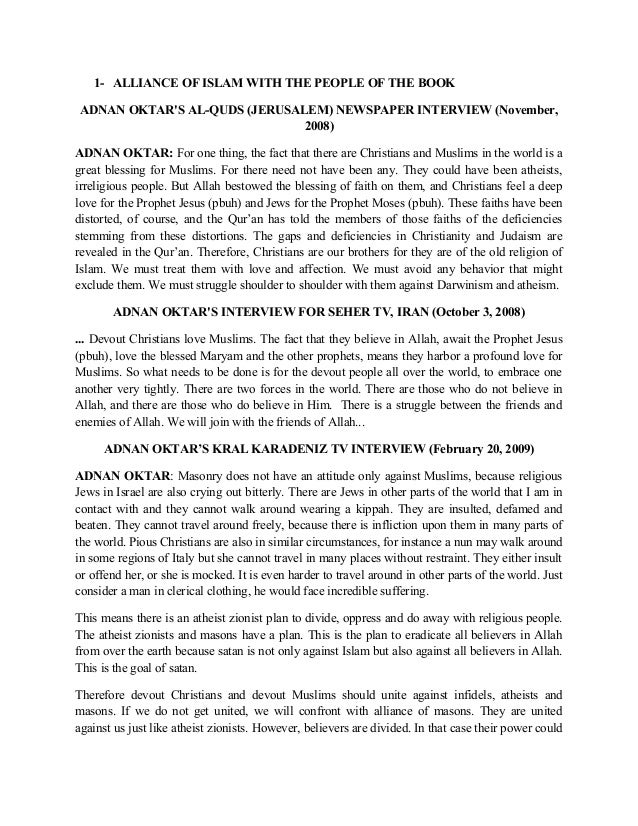 1- ALLIANCE OF ISLAM WITH THE PEOPLE OF THE BOOK ADNAN OKTAR'S AL-QUDS (JERUSALEM) NEWSPAPER INTERVIEW (November, 2008) AD...
