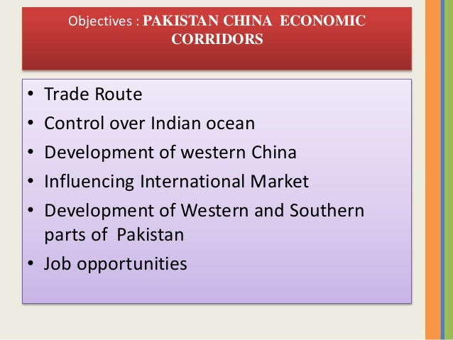 economic corridor 6 objectives economic