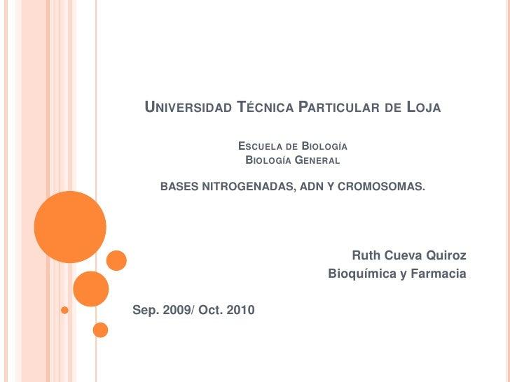 Universidad Técnica Particular de LojaEscuela de BiologíaBiología GeneralBASES NITROGENADAS, ADN Y CROMOSOMAS.<br />Ruth C...
