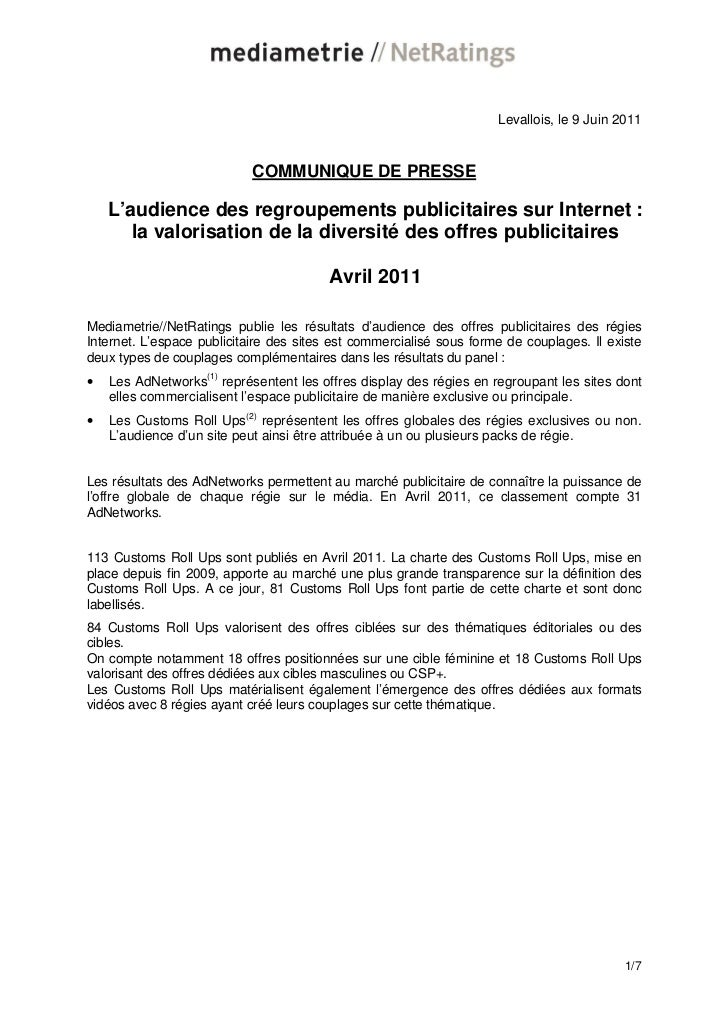 Levallois, le 9 Juin 2011                            COMMUNIQUE DE PRESSE    L'audience des regroupements publicitaires su...