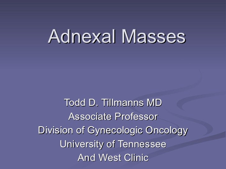 Adnexal Masses Todd D. Tillmanns MD Associate Professor Division of Gynecologic Oncology University of Tennessee And West ...
