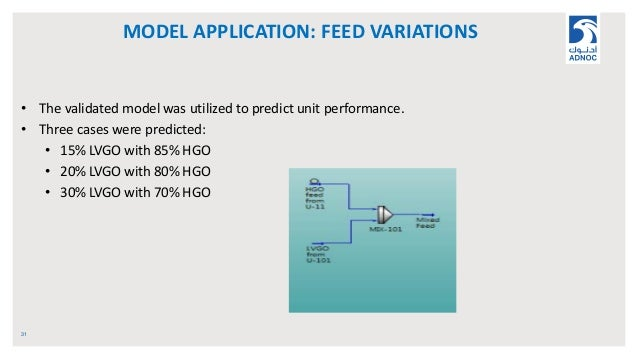 MODEL APPLICATION: FEED VARIATIONS 31 • The validated model was utilized to predict unit performance. • Three cases were p...