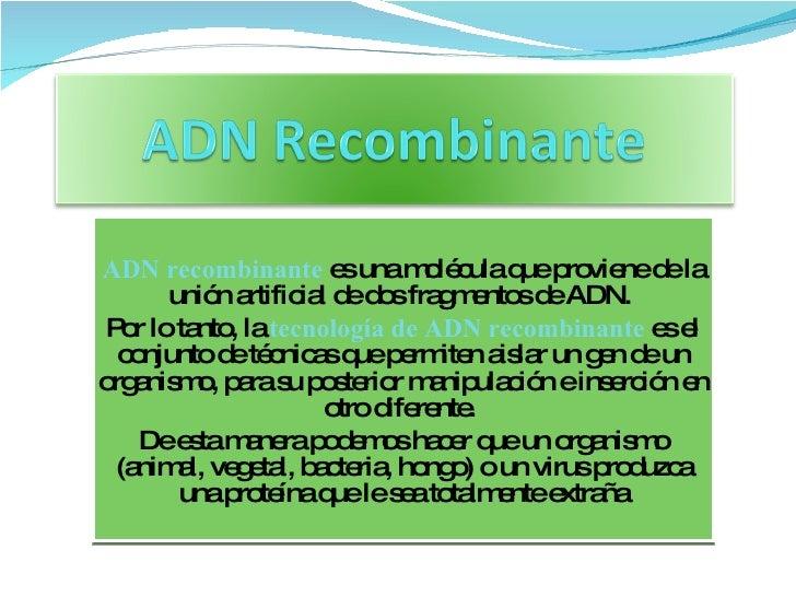 ADN recombinante   es una molécula que proviene de la unión artificial de dos   fragmentos de ADN.  Por lo tanto, la  tecn...