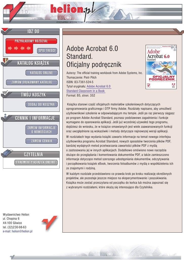 IDZ DO          PRZYK£ADOWY ROZDZIA£                             SPIS TRE CI   Adobe Acrobat 6.0                          ...
