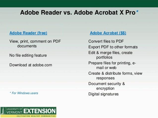 Adobe Acrobat Pro X - 2014 UVM Extension Professional Improvement Con…