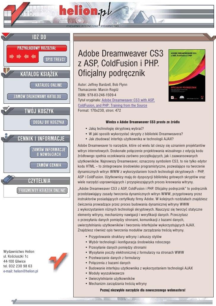 Adobe Dreamweaver CS3                            z ASP, ColdFusion i PHP.                            Oficjalny podrêcznik ...