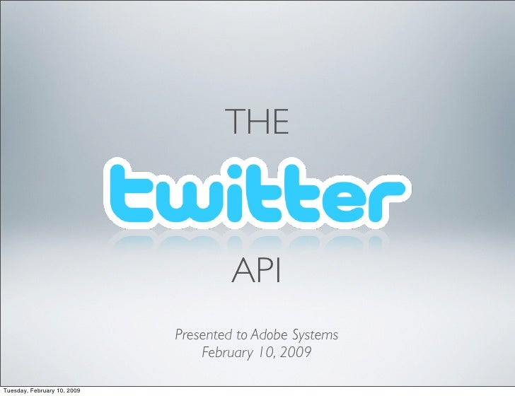 THE                                          API                              Presented to Adobe Systems                  ...