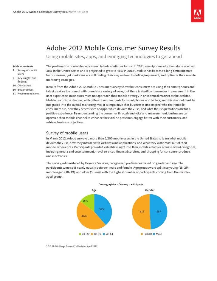 Adobe 2012 Mobile Consumer Survey Results White Paper                       Adobe® 2012 Mobile Consumer Survey Results    ...