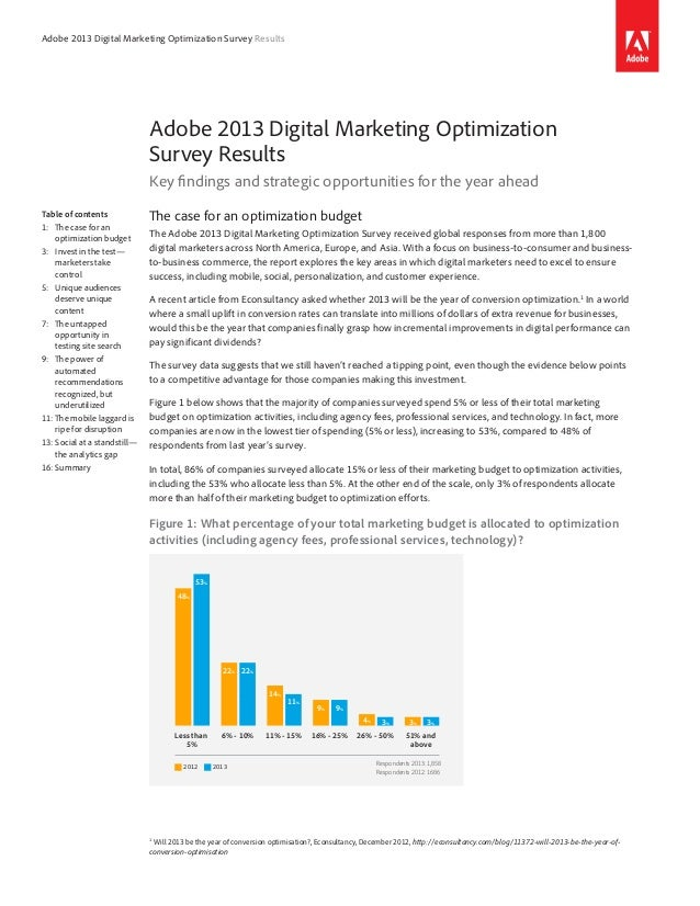 Adobe 2013 Digital Marketing Optimization Survey Results Adobe 2013 Digital Marketing Optimization Survey Results Key find...