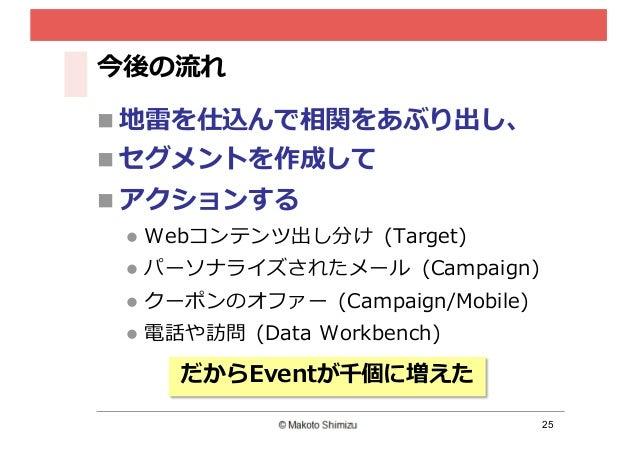 25 今後の流流れ n 地雷雷を仕込んで相関をあぶり出し、 n セグメントを作成して n アクションする l Webコンテンツ出し分け (Target) l パーソナライズされたメール (Campaign) l クーポンのオファー ...
