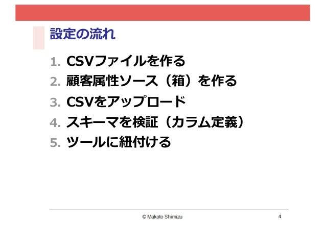 4 設定の流流れ 1. CSVファイルを作る 2. 顧客属性ソース(箱)を作る 3. CSVをアップロード 4. スキーマを検証(カラム定義) 5. ツールに紐紐付ける