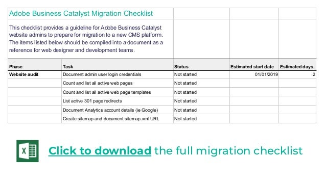 Adobe Business Catalyst - end of life migration plan