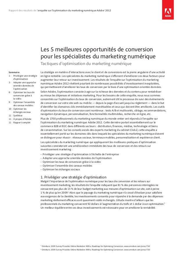 Rapport des résultats de l'enquête sur l'optimisation du marketing numérique Adobe®2012Les 5meilleures opportunités de c...