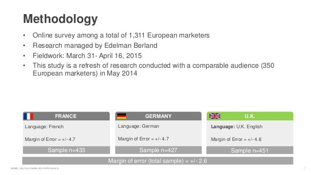 2ADOBE | DIGITAL ROADBLOCK REFRESH 2015 • Online survey among a total of 1,311 European marketers • Research managed by Ed...