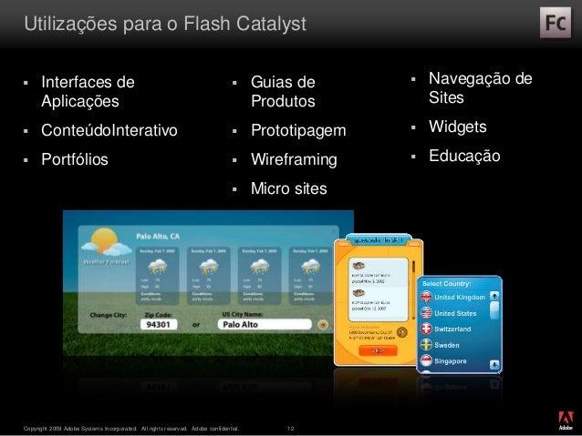® Copyright 2009 Adobe Systems Incorporated. All rights reserved. Adobe confidential. 12 Utilizações para o Flash Catalyst...