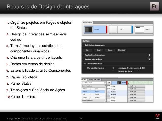 ® Copyright 2009 Adobe Systems Incorporated. All rights reserved. Adobe confidential. 14 Recursos de Design de Interações ...