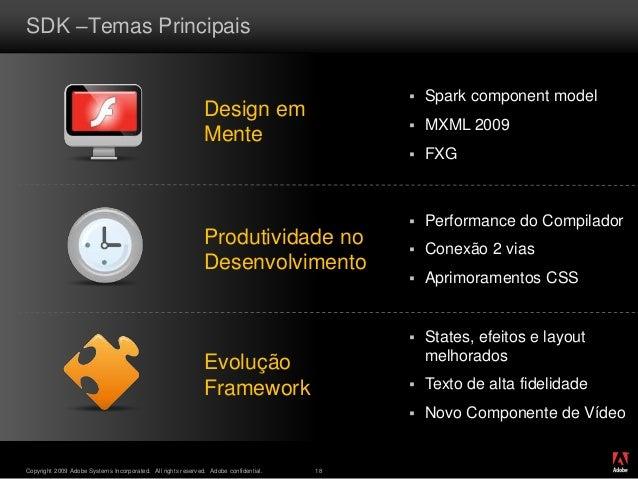 ® Copyright 2009 Adobe Systems Incorporated. All rights reserved. Adobe confidential. 18 SDK –Temas Principais Design em M...