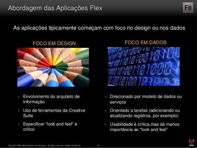® Copyright 2009 Adobe Systems Incorporated. All rights reserved. Adobe confidential. 20 Abordagem das Aplicações Flex As ...