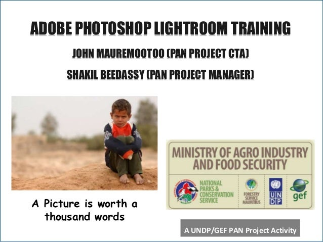 A ADOBE PHOTOSHOP LIGHTROOM TRAINING JOHN MAUREMOOTOO (PAN PROJECT CTA) SHAKIL BEEDASSY (PAN PROJECT MANAGER) A Picture is...