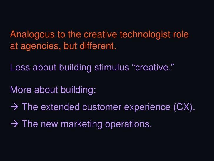Mission #3Choreograph dataand technologyacross themarketingorganization.-   Manage vendors-   Integrate & operate-   Inter...