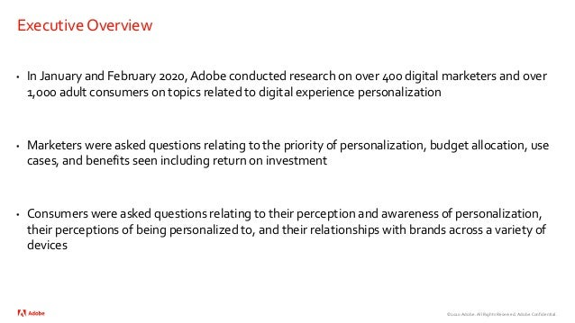 Adobe Personalization 2020 Survey of Consumers and Marketers Slide 2