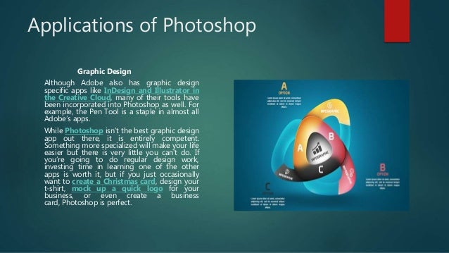 Applications of Photoshop Graphic Design Although Adobe also has graphic design specific apps like InDesign and Illustrato...