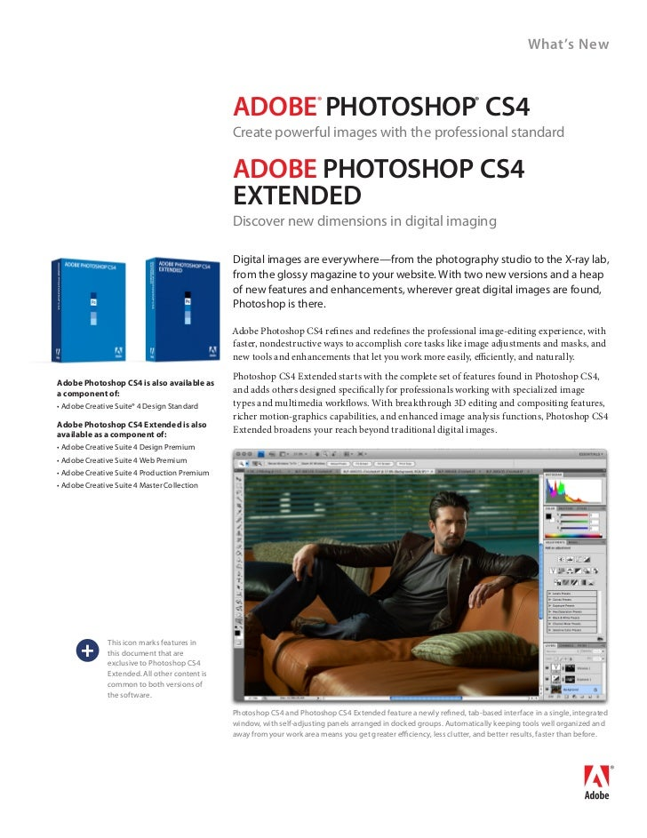 What's New                                                 ADOBE PhOtOshOP Cs4      ®                                     ...