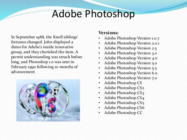 history of adobe photoshop Adobe photoshop cc to your clipboard to easily paste photoshop design assets into adobe experience a quick way to scrub through the history panel as.