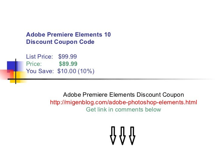 adobe premiere elements 10 discount coupon code. Black Bedroom Furniture Sets. Home Design Ideas