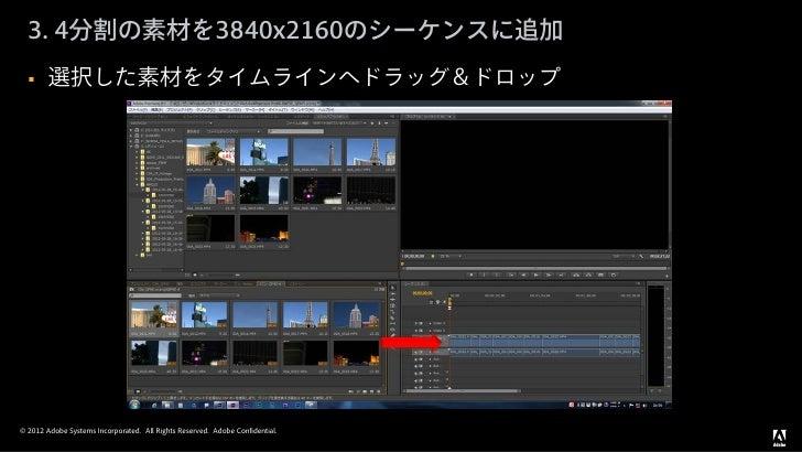 3. 4分割の素材を3840x2160のシーケンスに追加       選択した素材をタイムラインへドラッグ&ドロップ© 2012 Adobe Systems Incorporated. All Rights Reserved. Adobe C...