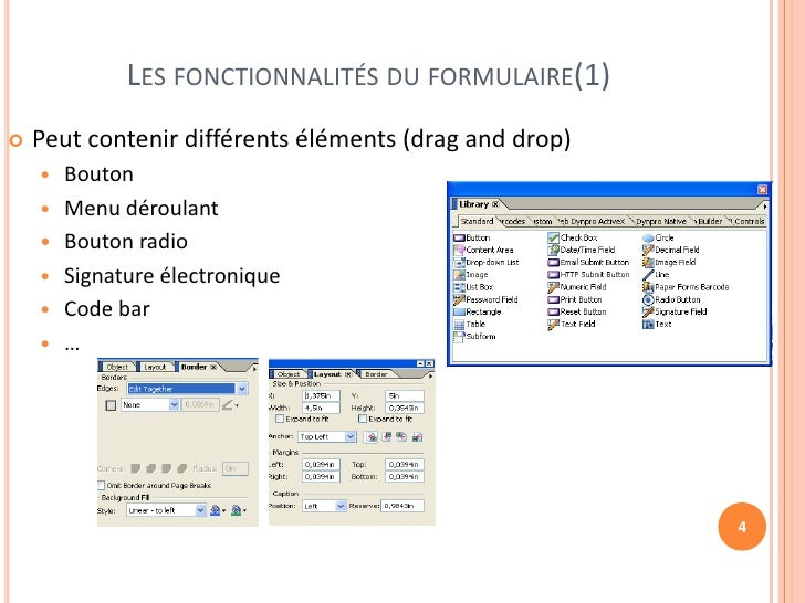 LES FONCTIONNALITÉS DU FORMULAIRE(1)   Peut contenir différents éléments (drag and drop)       Bouton       Menu déroul...