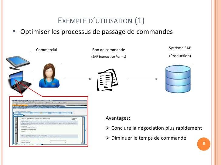 EXEMPLE D'UTILISATION (1) Optimiser les processus de passage de commandes       Commercial            Bon de commande    ...