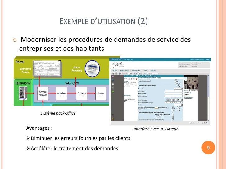 EXEMPLE D'UTILISATION (2)o Moderniser les procédures de demandes de service des  entreprises et des habitants          Sys...