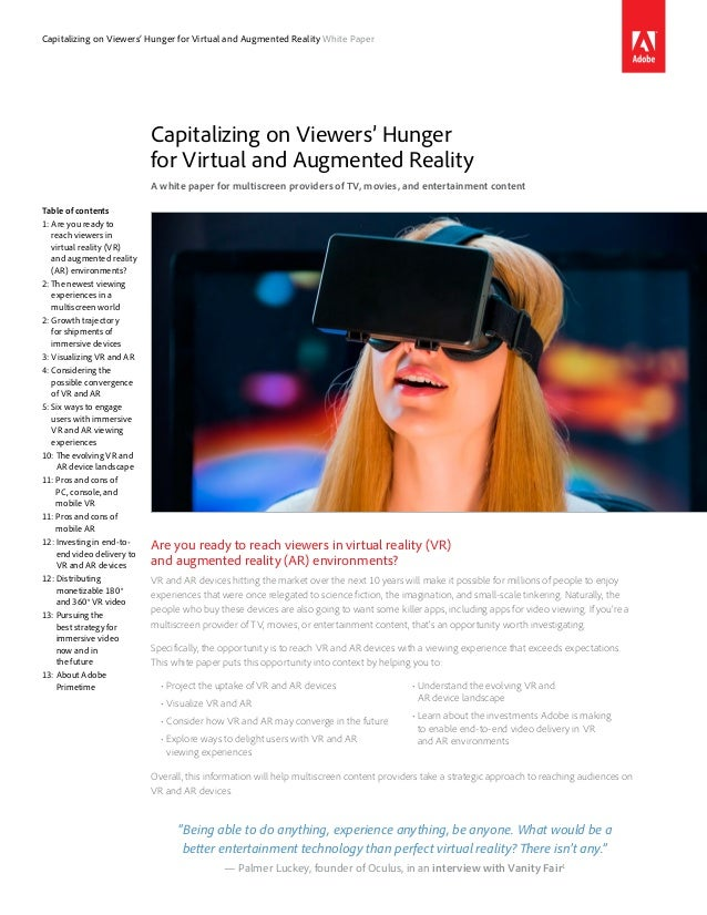 Capitalizing on Viewers' Hunger for Virtual and Augmented Reality White Paper Capitalizing on Viewers' Hunger for Virtual ...