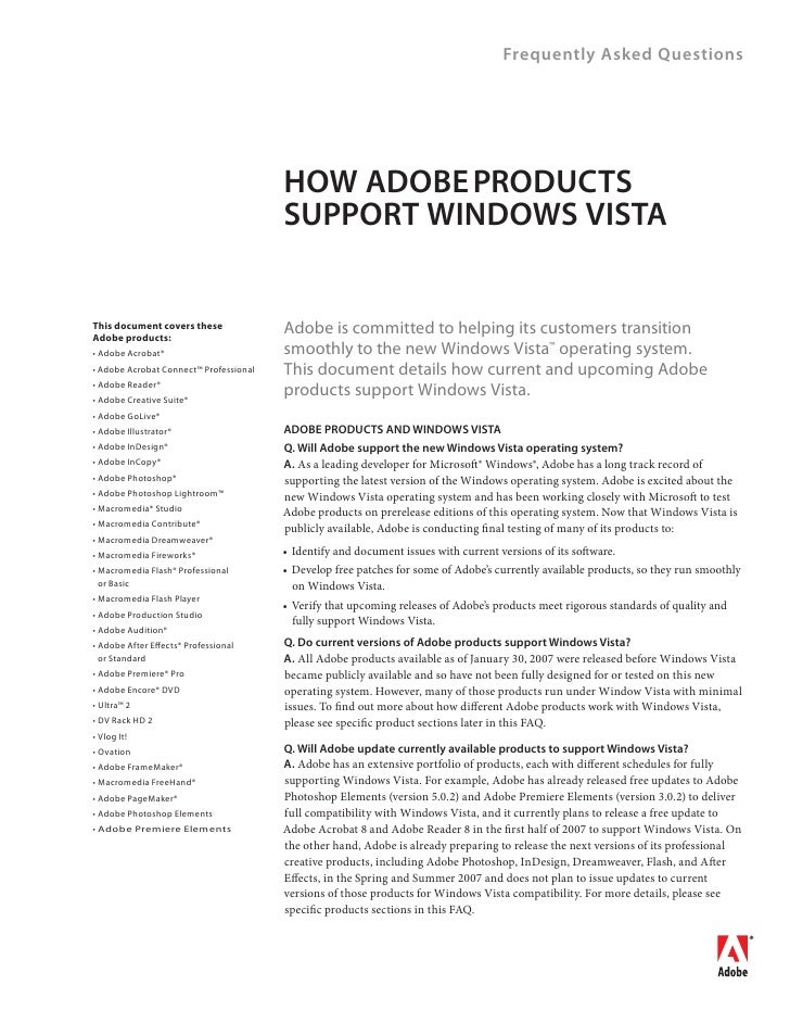 Frequently Asked Questions                                             HOW ADOBE PRODUCTS                                 ...