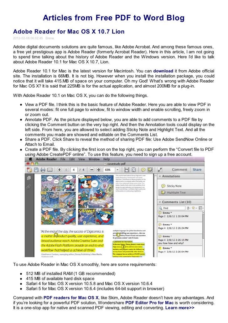 Adobe reader for mac os x 10